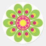 Diseño floral lindo pegatina redonda