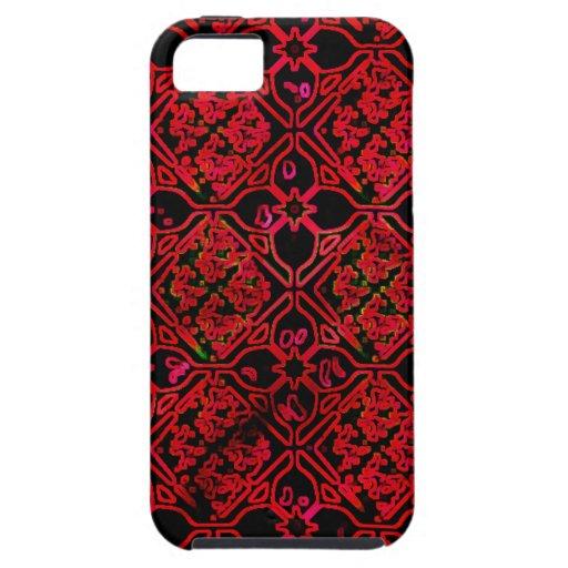 Diseño floral medieval rojo del Grunge iPhone 5 Carcasas