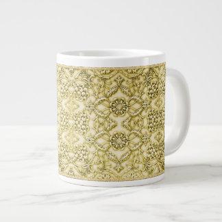 Diseño floral metálico grabado en relieve vintage taza de café gigante