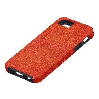Diseño floral Modelo-Grabado en relieve cuero del iPhone 5 Funda