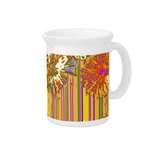 Diseño floral moderno del diente de león amarillo  jarra