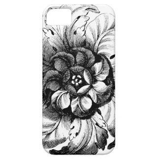 Diseño floral moderno del vintage en blanco y funda para iPhone 5 barely there