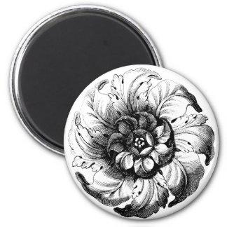 Diseño floral moderno del vintage en blanco y negr imán redondo 5 cm