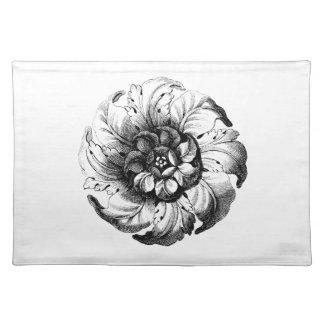 Diseño floral moderno del vintage en blanco y negr mantel individual
