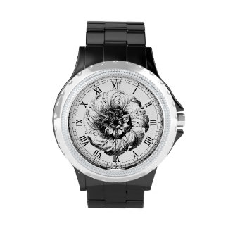 Diseño floral moderno del vintage en blanco y negr relojes de mano