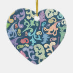 diseño floral multicolor adorno de cerámica en forma de corazón