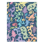 diseño floral multicolor postal