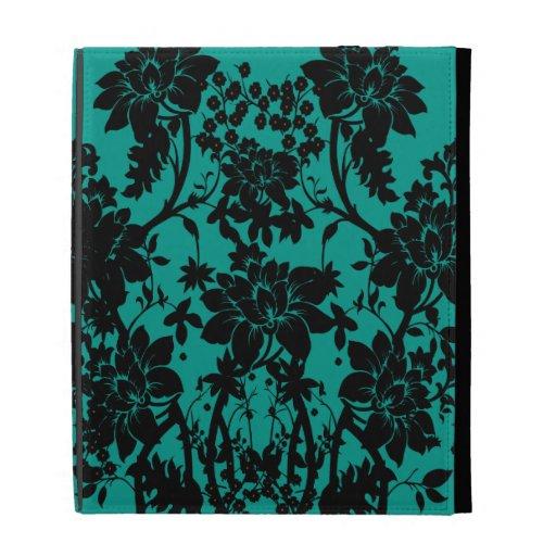 Diseño floral negro del vintage en verde del pavo