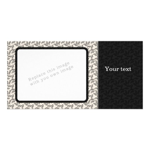 Diseño floral negro y beige elegante tarjeta fotografica
