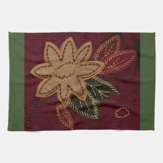 Diseño floral ocre toalla de cocina