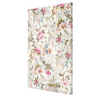 Diseño floral para el material de seda con flujo e impresiones de lienzo