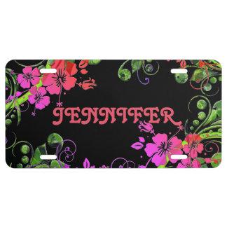Diseño floral personalizado placa de matrícula