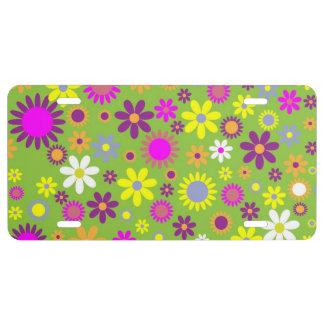 Diseño floral placa de matrícula