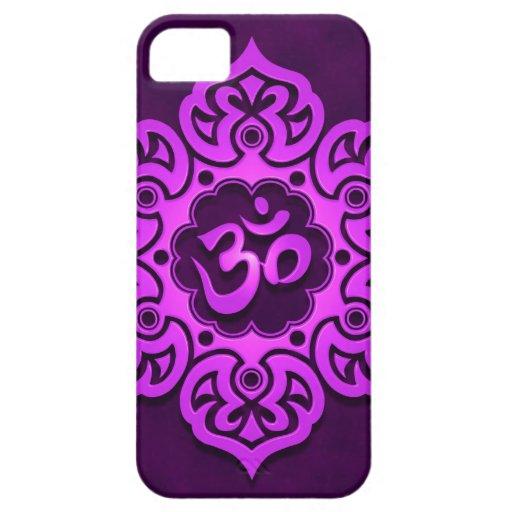 Diseño floral púrpura de Aum iPhone 5 Carcasas