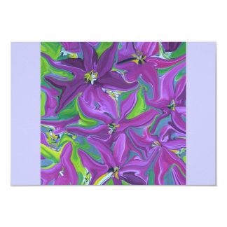 """diseño floral púrpura del rsvp invitación 3.5"""" x 5"""""""
