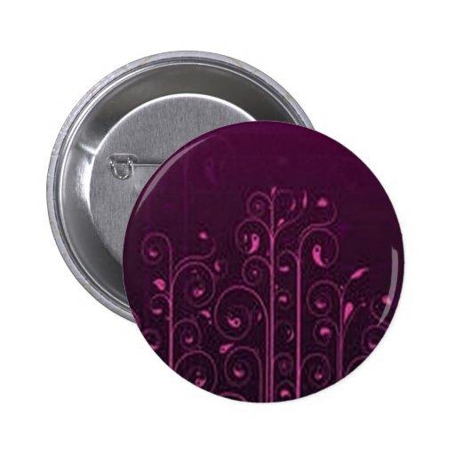 Diseño floral púrpura impresionante pin redondo de 2 pulgadas