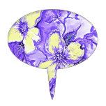 Diseño floral púrpura y amarillo figuras para tartas