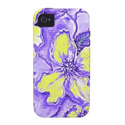 Diseño floral púrpura y amarillo iPhone 4 fundas