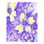 Diseño floral púrpura y amarillo membretes personalizados