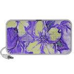 Diseño floral púrpura y amarillo notebook altavoz