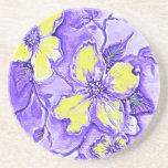 Diseño floral púrpura y amarillo posavasos diseño