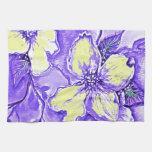 Diseño floral púrpura y amarillo toalla de cocina