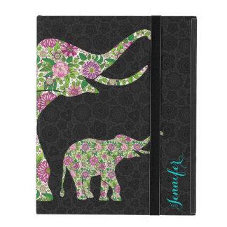 Diseño floral retro colorido 3 del elefante