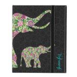 Diseño floral retro colorido 3 del elefante iPad protectores