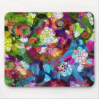 Diseño floral retro colorido romance mousepad