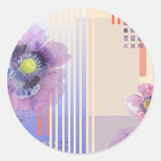 Diseño floral retro de la amapola etiqueta redonda