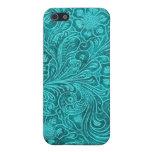 Diseño floral retro de la mirada azulverde del ant iPhone 5 carcasa