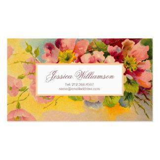 Diseño floral retro de las primaveras de los años tarjetas de visita