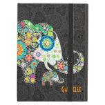 Diseño floral retro del elefante