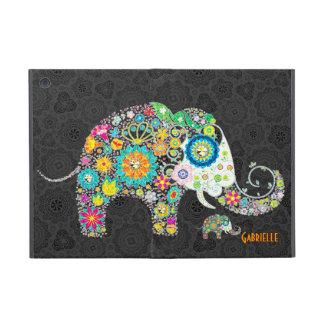 Diseño floral retro del elefante iPad mini protector