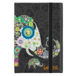 Diseño floral retro del elefante iPad mini fundas