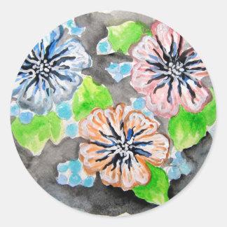 Diseño floral retro pegatina redonda