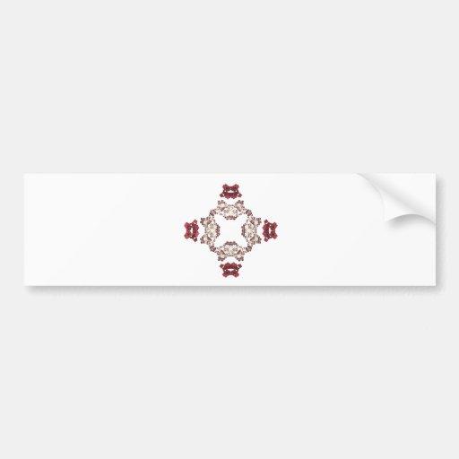 Diseño floral rojo del arte del fractal etiqueta de parachoque