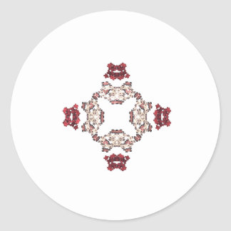 Diseño floral rojo del arte del fractal pegatina redonda