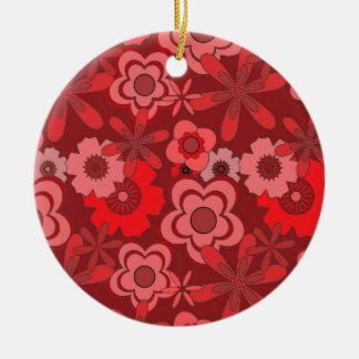 Diseño floral rojo del vintage