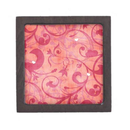 Diseño floral rojo del vintage cajas de joyas de calidad