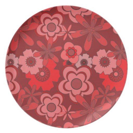 Diseño floral rojo del vintage platos de comidas