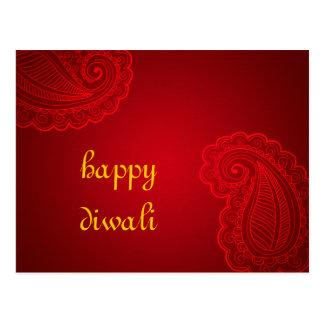 Diseño floral rojo hermoso Diwali feliz de Paisley Postal