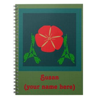 Diseño floral rojo libros de apuntes con espiral