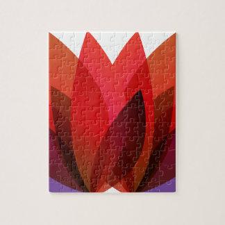 Diseño floral rojo puzzle con fotos