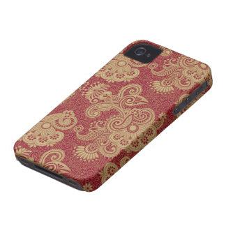 Diseño floral rojo y beige de Borgoña de los iPhone 4 Case-Mate Funda