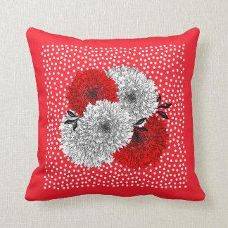 Diseño floral rojo y blanco de la mezcla del lunar almohadas