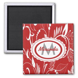 Diseño floral rojo y blanco personalizado imán cuadrado