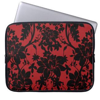 Diseño floral rojo y negro del granero del vintage fundas ordendadores