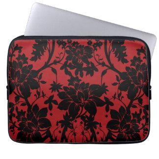 Diseño floral rojo y negro del granero del vintage mangas computadora