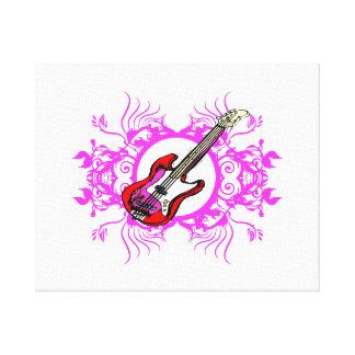 Diseño floral rosado bajo rojo del negro del círcu lienzo envuelto para galerias